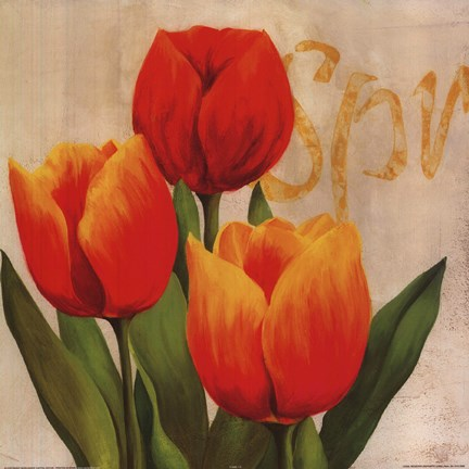 Framed Orange Red Tulips Print
