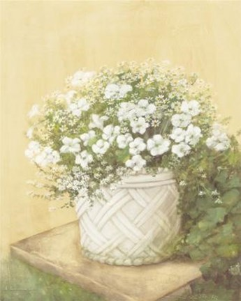 Framed White Flowers In Basket Print