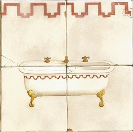 Framed Bathtub With Red Design Print