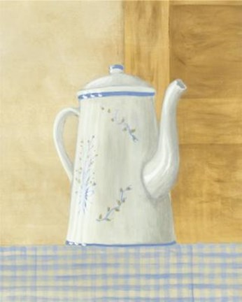 Framed White Teapot With Blue Flowers Print