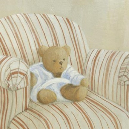 Framed Bear On Striped Chair Print