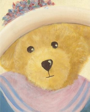 Framed Bear With Pink Blue Dress Hat Print