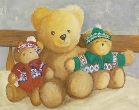 Framed Bears With Red Blue Sweaters Print
