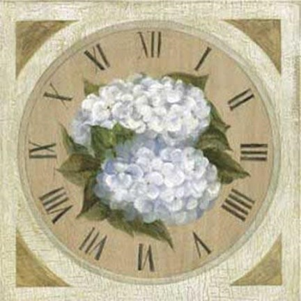 Framed Clock With White Flowers Print