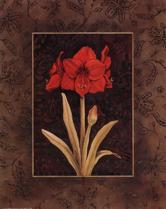 Framed Damask Amaryllis - Mini Print