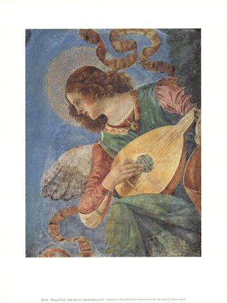 Framed Angel With Lute Print