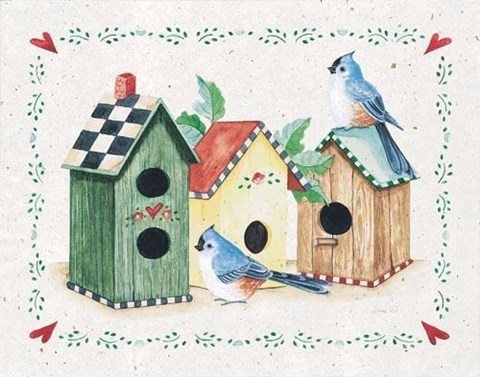 Framed Birds and Birdhouses 3 Print