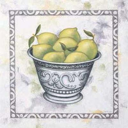 Framed Limes in Silver Bowl Print