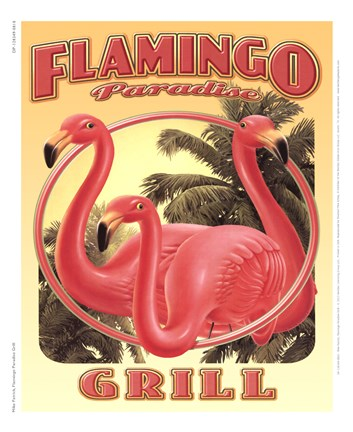 Framed Flamingo Paradise Grill Print