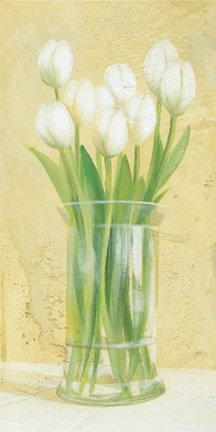 Framed White Tulips In Vase Print