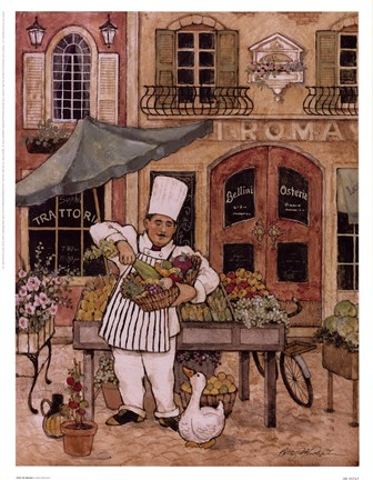 Framed Chef At Market Print