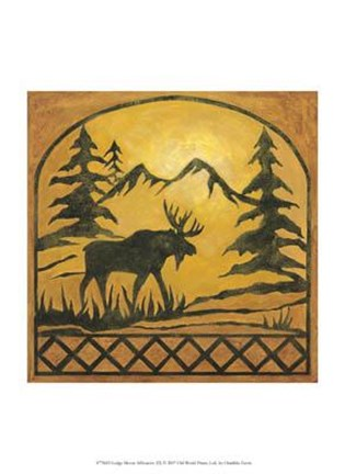Framed Lodge Moose Silhouette Print