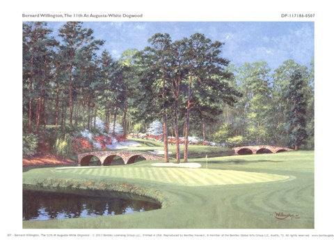 Framed 11th At Augusta - White Dogwood Print