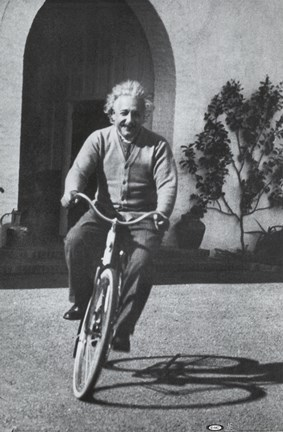 Framed Albert Einstein - Bike Print