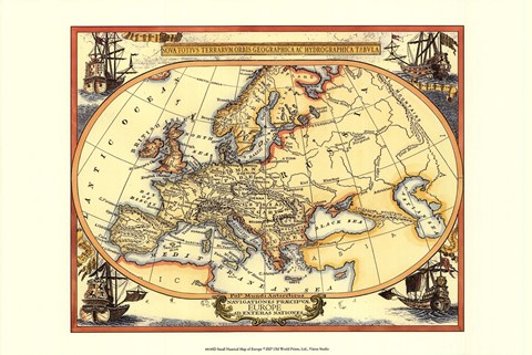 Framed Small Nautical Map Of Europe Print