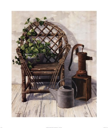 Framed Bentwood Chair and Pump Print