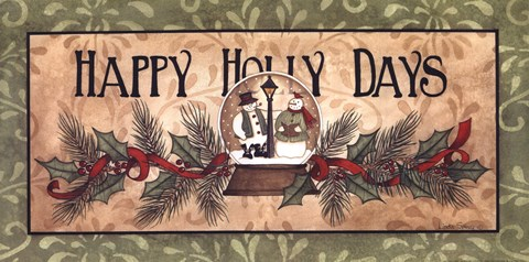 Framed Happy Holly Days Print