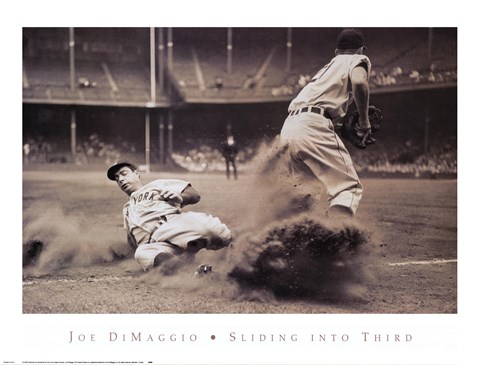 Framed Joe DiMaggio Sliding Into Third Print