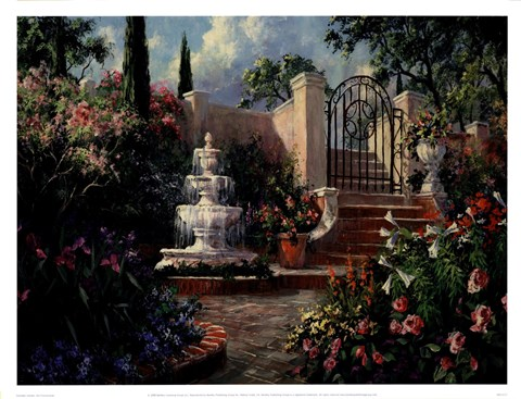 Framed Fountain Garden Print
