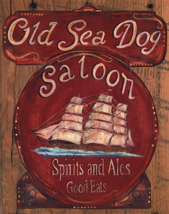 Framed Old Sea Dog Saloon Print