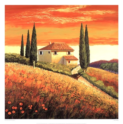 Framed Sunset Over Tuscany II Print