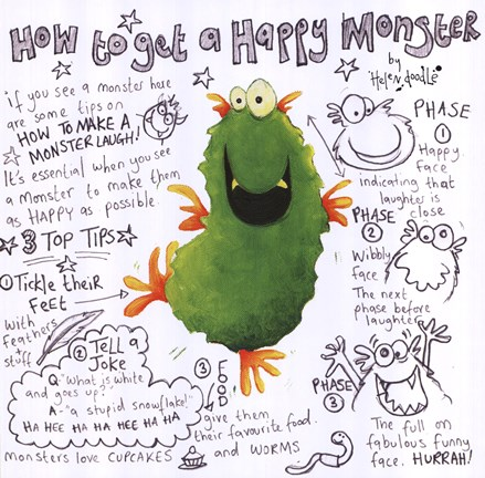 Framed How to get a Happy Monster Print