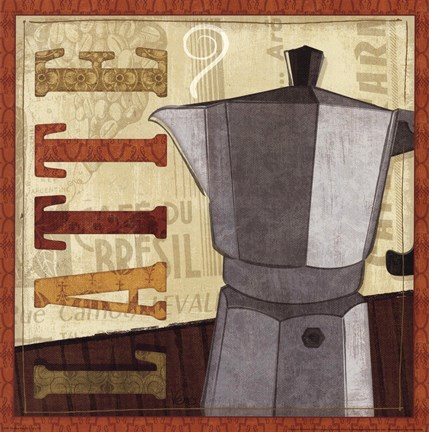 Framed Coffee Pot IV Print