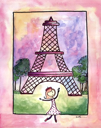 Framed Girl in Paris Print
