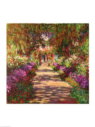 Framed Pathway in Monet's Garden, Giverny, 1902 Print