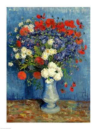 Framed Still Life: Vase with Cornflowers and Poppies, 1887 Print