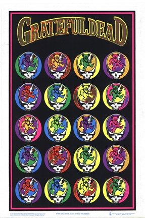 Framed Black Light - The Grateful Dead - Steal Your Bear Print