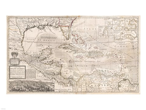 1732 Herman Moll Map Of The West Indies Florida Mexico And The