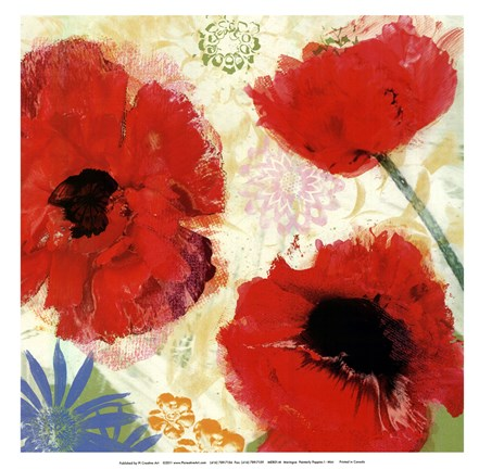 Framed Painterly Poppies I - mini Print