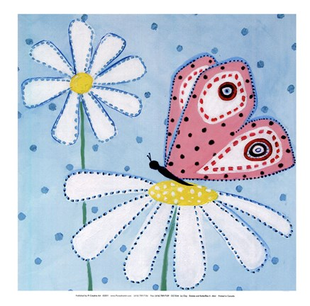 Framed Daisies and Butterflies II - mini Print