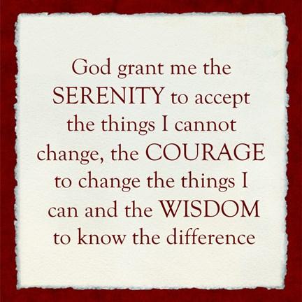 Framed Serenity Prayer - red border Print