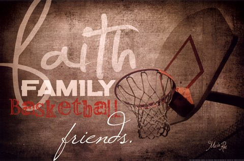 Framed Faith Family Basketball Print