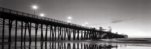 Framed Pier Night Panorama II - mini Print