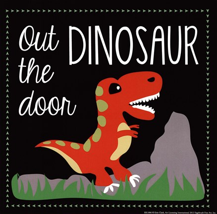 Framed Out the Door Dinosaur Print  sc 1 st  FramedArt.com & Out the Door Dinosaur Artwork by Erin Clark at FramedArt.com