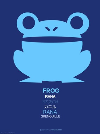 Framed Blue Frog Multilingual Poster Print
