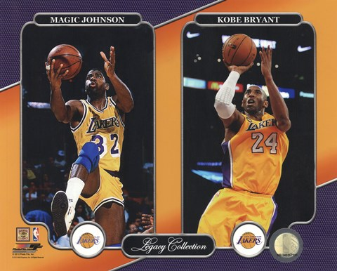 Framed Magic Johnson & Kobe Bryant Legacy Collection Print
