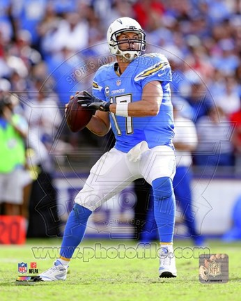 Framed Philip Rivers Football Action Print
