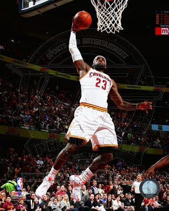 Framed LeBron James 2014-15 dunking Print