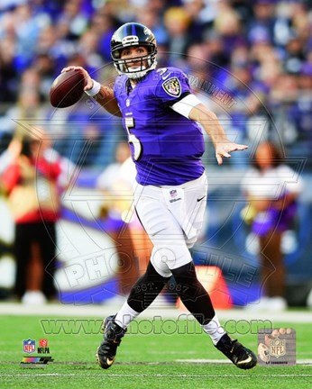 Framed Joe Flacco throwing the ball 2014 Print