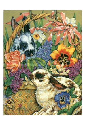 Framed Bunny Basket Print