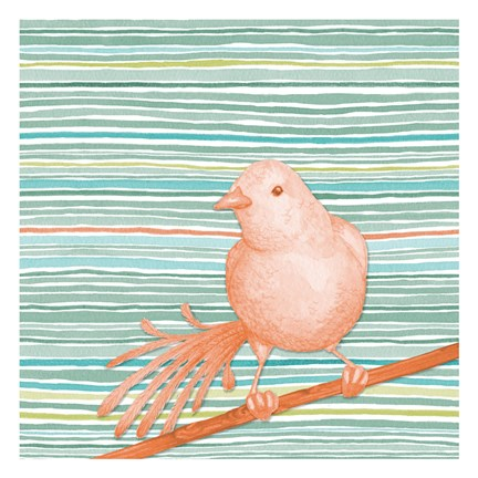 Framed Summer Stripe Bird 2 Print