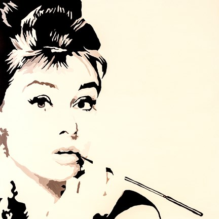 Framed Just Smokin  Audrey Hepburn Print