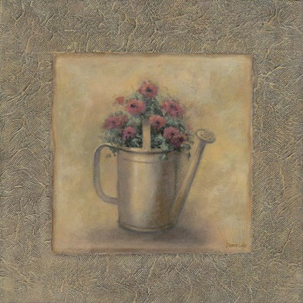 Framed Flowers In A Watering Can Print