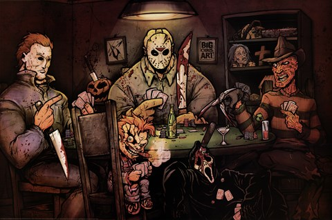 Framed Slashers Playing Poker Print