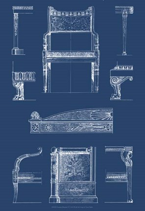 Framed Furniture Blueprint IV Print