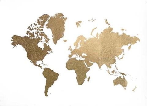 Gold Foil World Map Framed.Large Gold Foil World Map Metallic Foil Artwork By Jennifer